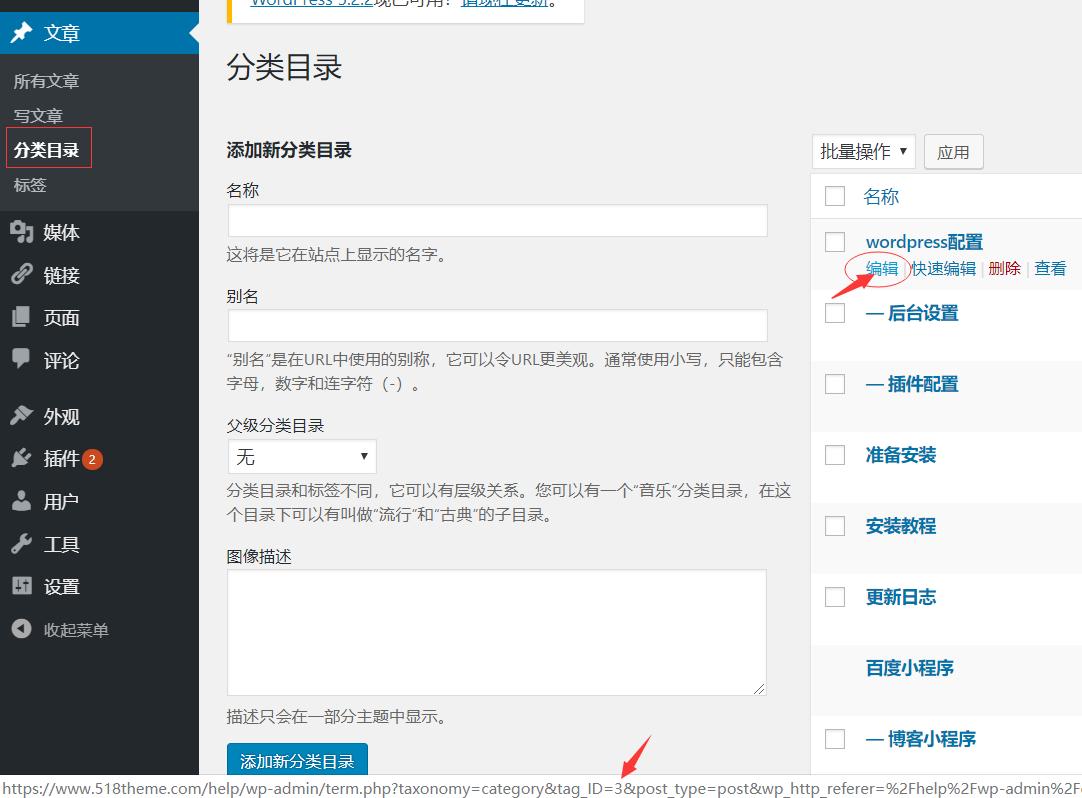 wordpress分类id